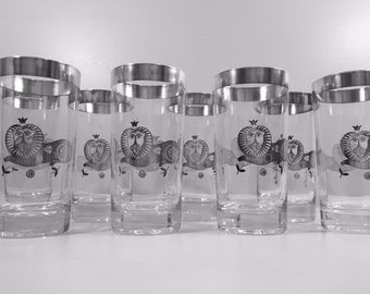 Georges Briard Signed Mid-Century Sterling Silver Lion Highball Glasses (Set of 8)
