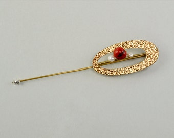 Hammered brooch, long gold tone pin, red stone jewelry, acai jewelry, open oval pin, brass jewelry, brass big pin, minimal  brooch.