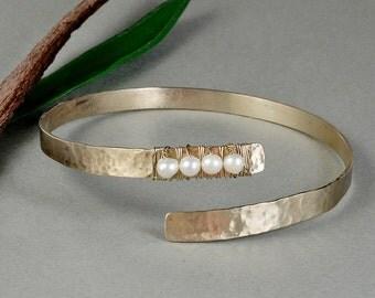 Bridesmaid pearl bracelet, silver tone cuff, thin alpaca bangle, minimal cuff, custom bracelet, bride jewelry, hammered bangle.