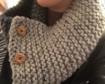 Hand knitted, super chunky cowl/ scarf.