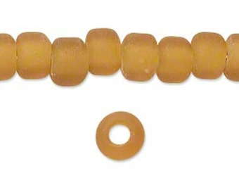 Yellow Beads, Crow Beads, Translucent Matte, Glass Beads, 8x5mm to 9x7mm, 20 beads, D840