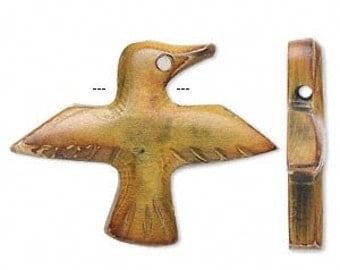 Horn Bead, Horn Bird, Tribal, Ethnic, Yellow Bird, 44x32mm, 2 each, D774