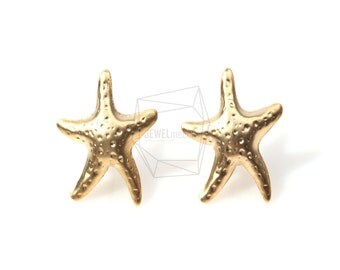 ERG-076-MG/4Pcs-starfish Ear Post/ 15mm x 15mm /Matte Gold Plated over  Brass/925 sterling silver post