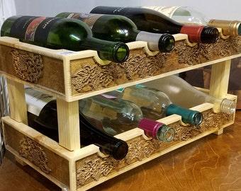 Wooden Wine Rack, Wine Rack, Counter Top Wine Rack, Grape Vine Wine Rack, 8 Bottle Wine Rack, Housewarming Gift, Wedding Gift, Home Decor