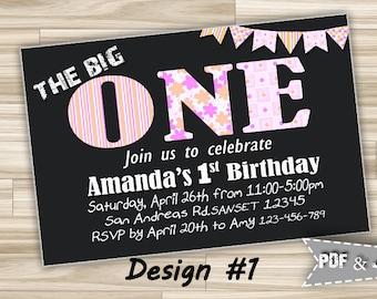 Printable 1st Birthday Invitation Girl, First Birthday Party invitation, Girl invitation, 1st birthday invitation, 1st Invites Digital File