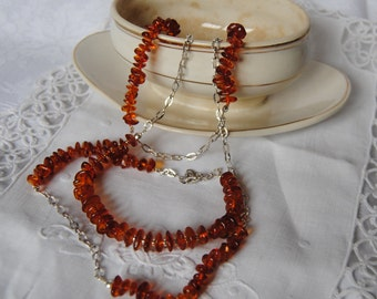 long necklace, amber, made in Italy, 925 sterling silver