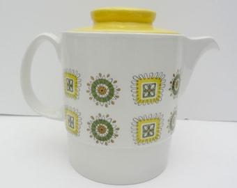 Vintage Retro Tea Pot Teapot Johnson Brothers Bros Yellow atomic pattern