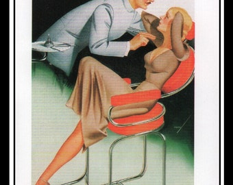 """George Petty Vintage Pinup Illustration Sexy Pinup Esquire Cartoon Wall Art Deco Book Print Small 5.5"""" x 4.5"""""""