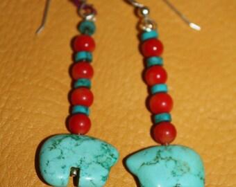 Native American Turquoise Bear Earrings