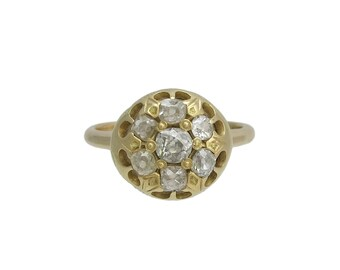 Victorian 14K Gold Diamond Cluster Ring