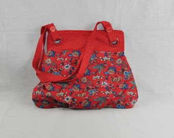 Classic Red & Blue Flowered Bag