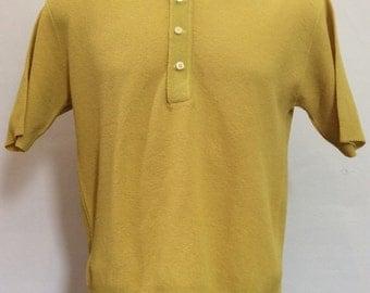 Vtg 60s 70s Polyester Polo Shirt S Yellow Universal Knitwear Mod