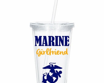 Personalized Marine Girlfriend, Tumbler Marine Wife,Marine Wife, Marine Girlfriend Deployment Gift, Deployment tumbler, Military Spouse