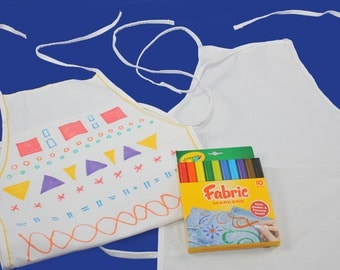 Art Birthday Party Craft/Art Party Favor-Decorate Your Own Child-Sized Canvas Apron and Crayola Fabric Markers