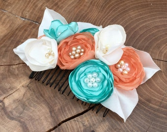 Coral, mint and ivory fabric flower hair comb. Handmade, perfect for Weddings, brides, bridesmaids, faux bead centres.