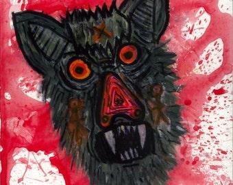 "Tribal-baboon - 8""X10"" Original painting on woodblock"