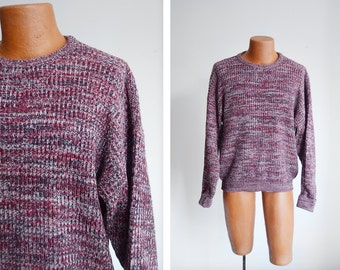 Wrangler 1980s Maroon Space Knit Sweater - L