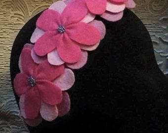 Large beaded felt flower headband