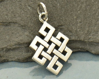 Sterling Silver Endless Buddhist Knot Charm, Buddhist Jewelry, Yoga Charm, Eternal Knot, Endless Knot Pendant, Eternity Knot, Buddhist Charm