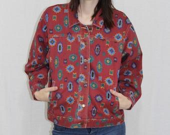 Vintage 80s Terra Cotta Denim ETHNIC Navajo Southwestern Print Jacket S
