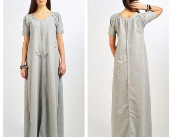 Grey Asymmetrical Dress/ Maxi Extravagant Dress / Loose Kaftan/ Twisted Dress by Fraktura D0024