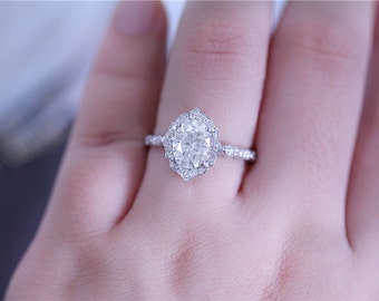 Gorgeous Moissanite Ring 6x8mm Oval Cut Moissanite Ring 14K White Gold Moissanite Engagement Ring Diamond Wedding Ring
