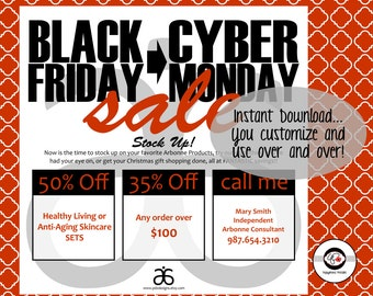 Black Friday Cyber Monday Sale Flyer Instant Download Digital Announcement: Arbonne Healthy Living Vegan Skincare Sale Flyer Digital