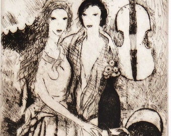 Marie Laurencin, original signed etching, two girls and cello, musicians, music lovers, high-society, early last century, good condition