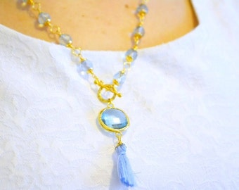 baby blue clear colored crystal tassel necklace, t lock jewelry, bridal bridesmaid, wedding shower, zircon stone necklace, bezel stone gift