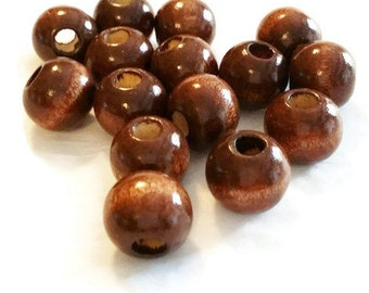 14mm Wooden Beads | Wood Beads Dark Brown | Wooden Round Beads | Jewelry Supplies | 14mm Beads | Large Round Beads | Chunky Beads, w9935