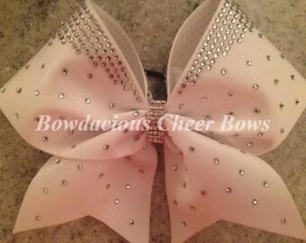 White Rhinestone Cheer Bow