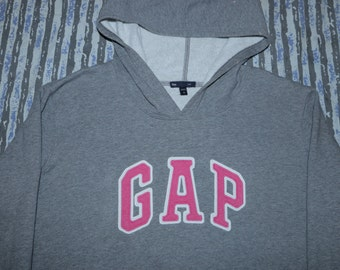 GAP - Grey Pullover Hoodie - Pink Embroidered Logo - XL