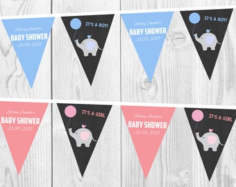 Baby Shower Personalised Bunting, It's a Boy, It's a Girl, Pink, Blue, Printable, Digital Download, Elephant