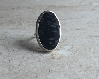 Large Picasso Jasper Sterling Silver Statement Ring, Jasper Bezel Ring, Sterling Silver Modern Ring, Sterling Silver Ring 7