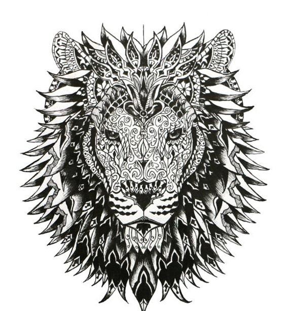 Lion Print Black And White Lion Art Lion By Cjillustrations1