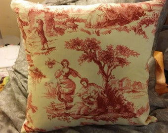 Zippered pillow covers,  vintage toile and white/cream with white Jacquard backing
