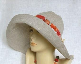Linen hat, summer hat, women's hat, Oeko Tex, Wide-brimmed Hat,Beige linen hat, Beige Hat, Women's wide-brimmed hat
