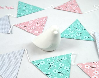 Garland of flags of Japanese cherry blossoms - Mint, pink and gray