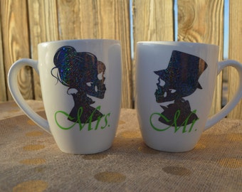 mr and mrs skull coffee mug set