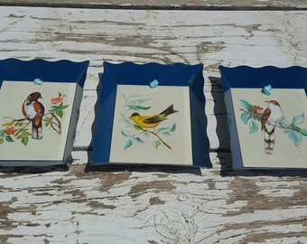 Hand painted bird tins
