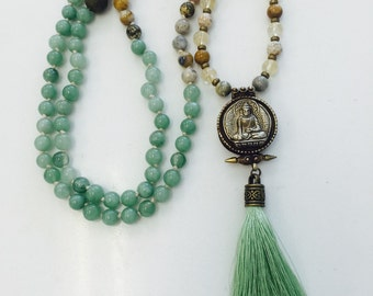 Ocean Jasper and Green Aventurine Mala