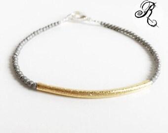 Tender - Puristic Bracelet - gold / platin / hematite - Elegant Bracelet - Friendship bracelet - bridesmade Bracelet