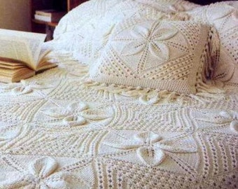 Leaf Bedspread Knitting Pattern : Items similar to VCP102 counterpane leaf and bobble ...