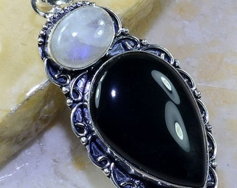 Black Onyx and Rainbow Moonstone Sterling Silver Pendant 2 3/4""