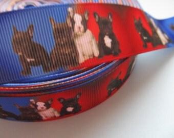"French Bull Dog Printed Grosgrain Ribbon 7/8"" 22mm"