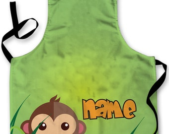 Personalised Monkey Jungle Design add your own name Childrens Apron Baking Cooking Painting Water Play Arts & Crafts Made In Yorkshire