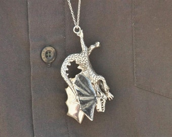 The Conquered Dragon, Silver Dragon Pendant, Sterling Silver, Jewelry, Necklace, Dragon Necklace