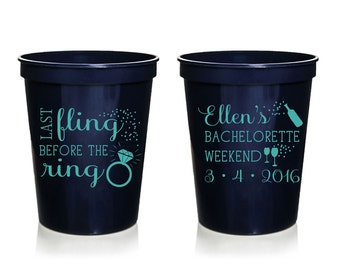 Last Fling Before the Ring Bachelorette Cups, Custom Bachelorette Cups, Personalized Bachelorette Stadium Cups, Bachelorette Favor