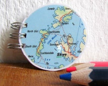 Matchbook notepad, round notebook, upcycled paper, shopping list, to do list, upcycled map, Scotland souvenir, Orkneys, Skye, Scotland map
