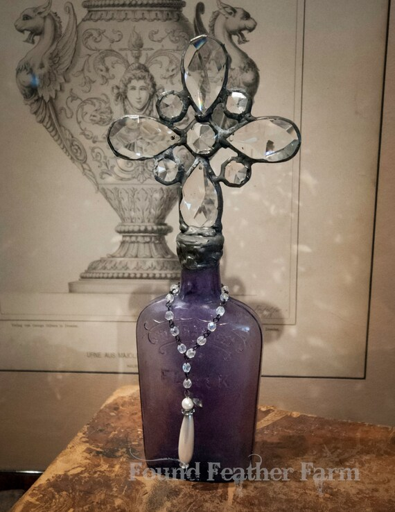 Handmade Glass Cross Bottle with Antique Whiskey Bottle from the 1800's